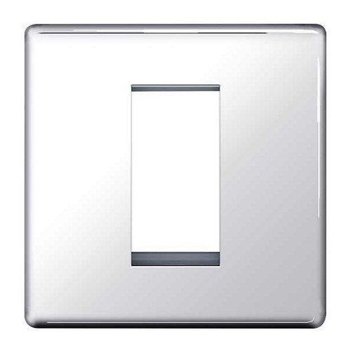 Euro-Module Chrome 1 Module Square Screwless Flat-Plate