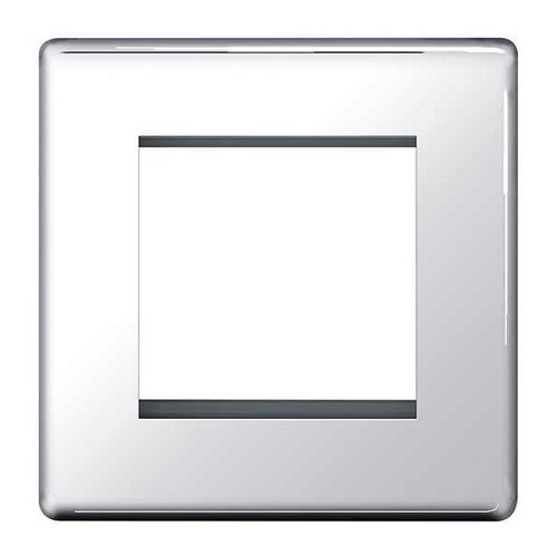 Euro-Module Chrome 2 Module Square Screwless Flat-Plate