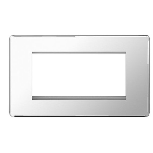 Euro-Module Chrome 4 Module Rectangular Screwless Flat-Plate
