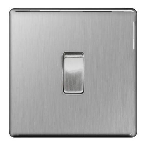 Flat Plate Brushed Steel 10AX Plate Switch 1 Gang, 2 Way