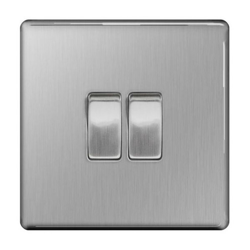 Flat Plate Brushed Steel 10AX Plate Switch 2 Gang, 2 Way