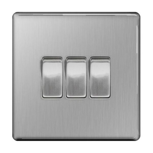 Flat Plate Brushed Steel 10AX Plate Switch 3 Gang, 2 Way