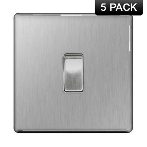 Pack of 5 Flat Plate Brushed Steel 10AX Switch 1 Gang, 2 Way