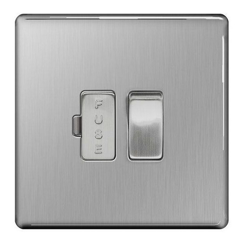 Flat Plate Brushed Steel 13A Switched Fused Connection Units FCU