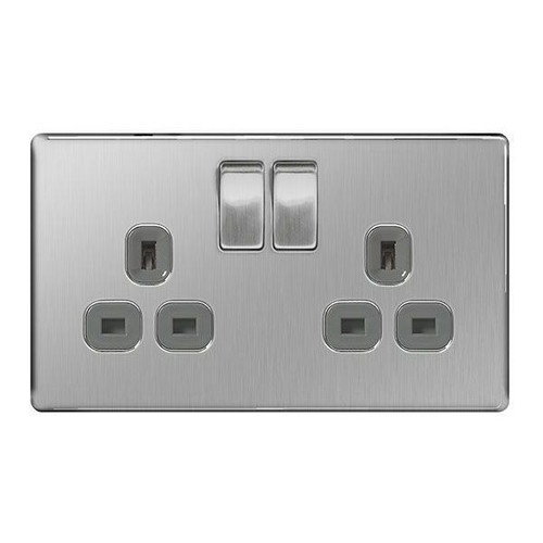 Flat Plate Brushed Steel 2 Gang 13amp Switched Socket - Grey Insert