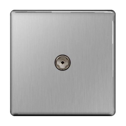 Flat Plate Brushed Steel Co-Axial Socket, 1 Gang