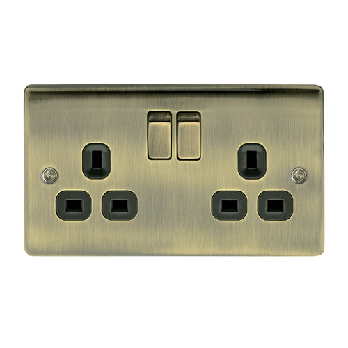 Metal Antique Brass Double 2 Gang Switched Plug Socket
