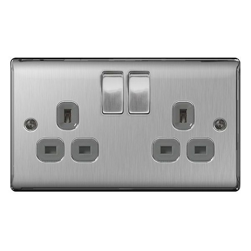 Metal Brushed Stainless Steel & Grey Double 2G 2 Gang Switched Socket