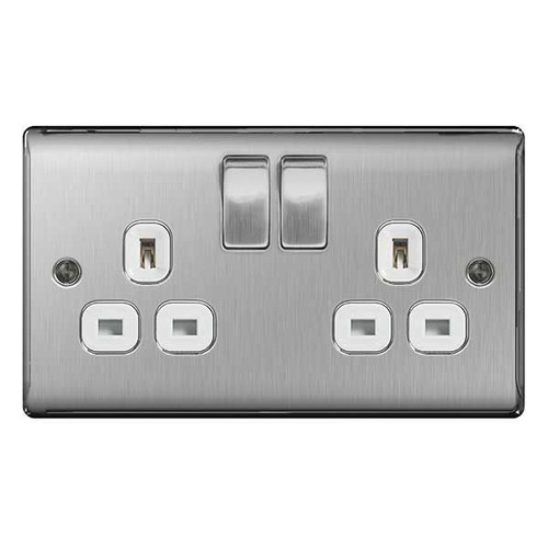 Metal Brushed Stainless Steel & White Double 2G Plug Socket Switched