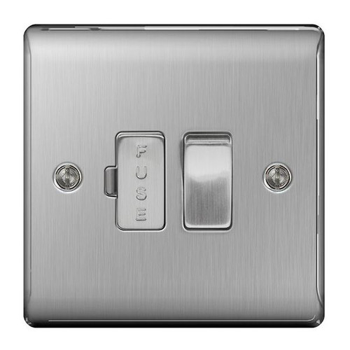 Metal Brushed Stainless Steel Fused Connection Spur Unit 13A Switched