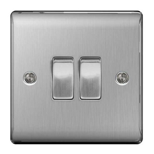 Metal Brushed Stainless Steel Light Switch Plate - Double 2 Gang 2 Way