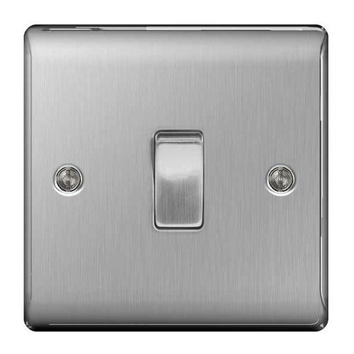 Metal Brushed Stainless Steel Light Switch Plate - Single 1 Gang 2 Way