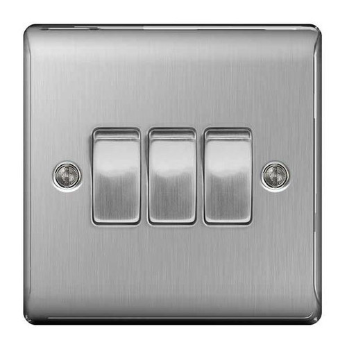 Metal Brushed Stainless Steel Light Switch Plate - Triple 3 Gang 2 Way