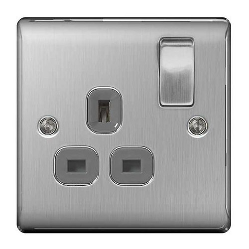 Metal Brushed Stainless Steel & Grey 1G Single Switched Plug Socket
