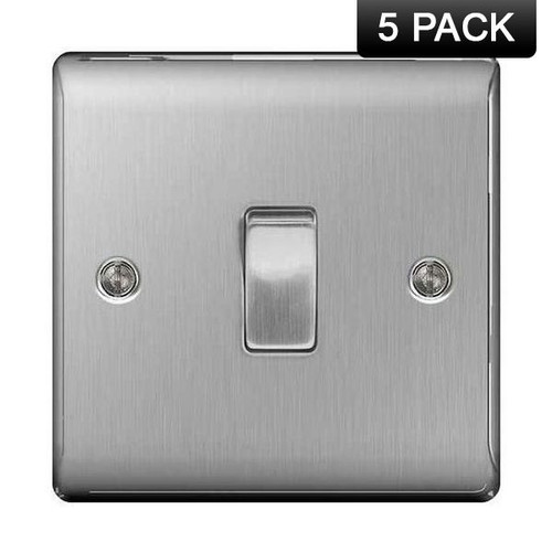 Pack of 5 Metal Brushed Stainless Steel Single Switch