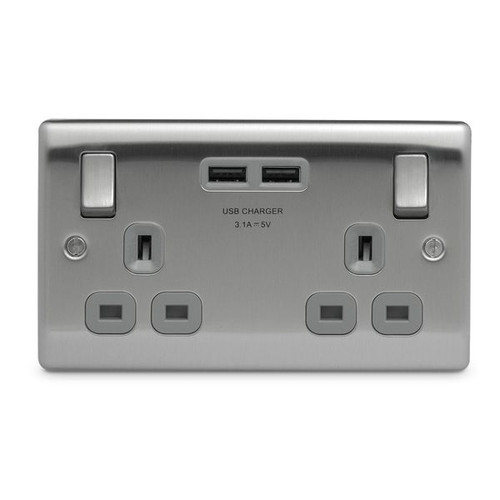 Nexus Brushed Steel 2 Gang Socket with Grey Insert & 2 USB 3.1A