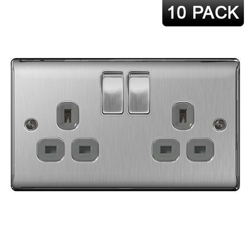 Pack of 10 Metal Brushed Stainless Steel Double Socket Grey Insert