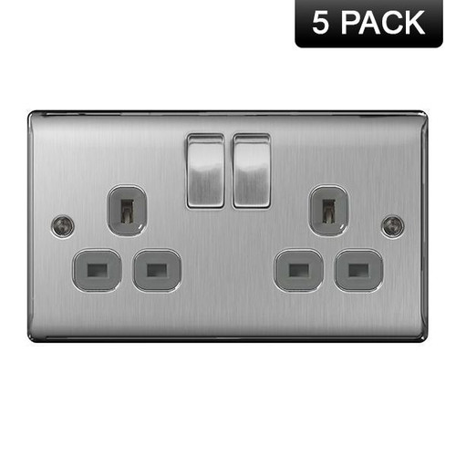 Pack of 5 Metal Brushed Stainless Steel Double Socket Grey Insert