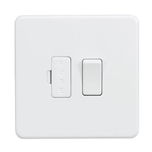 Screwless Matt White DP Switched Fused Spur/Connection Unit 13A