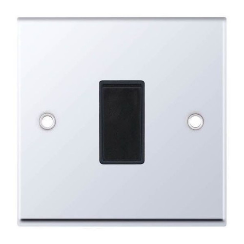 Polished Chrome and Black 1 Gang 2 Way Plate Light Switch 10AX