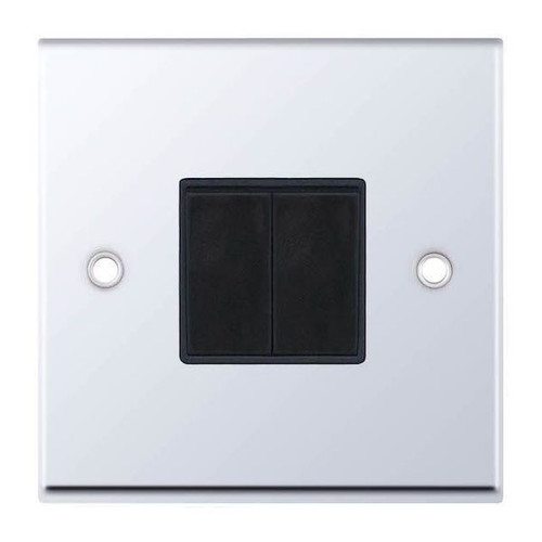 Polished Chrome and Black 2 Gang 2 Way Plate Light Switch 10AX