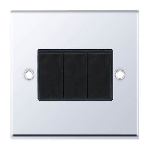 Polished Chrome and Black 3 Gang 2 Way Plate Light Switch 10AX