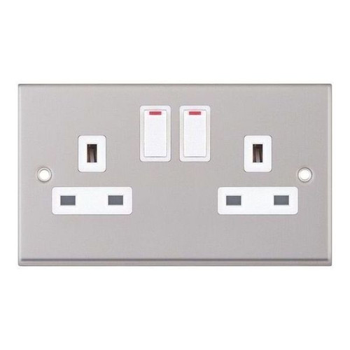 Satin Chrome and White 2 Gang Double Switched DP Socket Outlet 13A