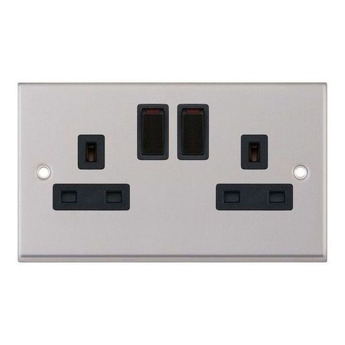 Satin Chrome and Black 2 Gang Double Switched DP Socket Outlet 13A