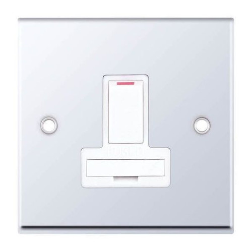 Polished Chrome & White Double Pole Switched Fused Connection Unit 13A