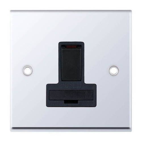 Polished Chrome & Black Double Pole Switched Fused Connection Unit 13A