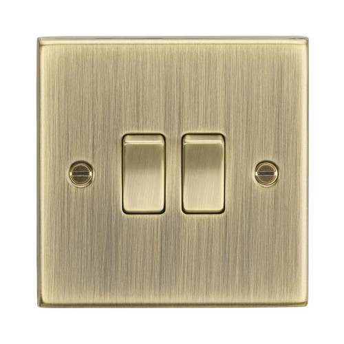 Antique Brass Square Edge 2 Gang 2 Way Plate Switch IP20 10A 230V