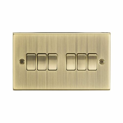Antique Brass Square Edge 6 Gang 2 Way Plate Switch IP20 10A 230V