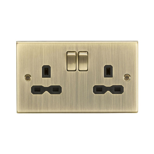 Antique Brass Square Edge 2 Gang Double Pole Switched Socket 13A