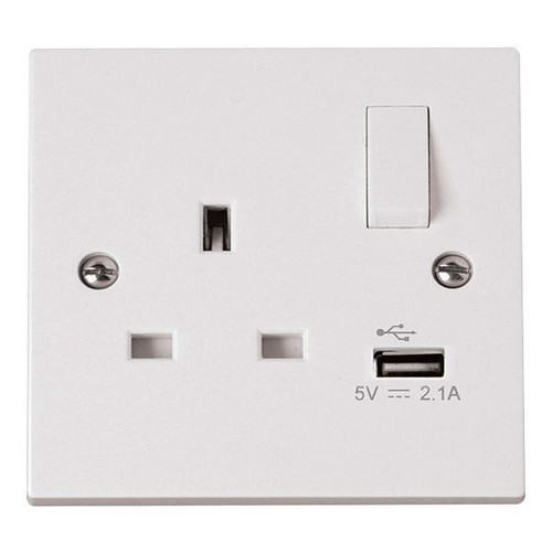 Polar White 13A 1 Gang Switched Socket with 2.1A USB Outlet