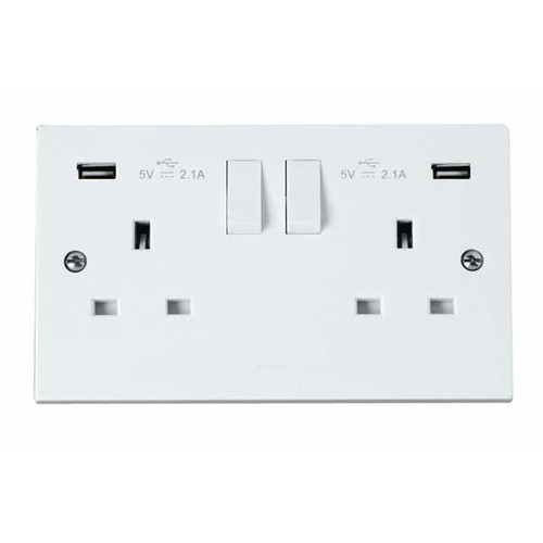 Polar White 13A 2 Gang Switched Socket with 2 x 2.1A USB Outlets