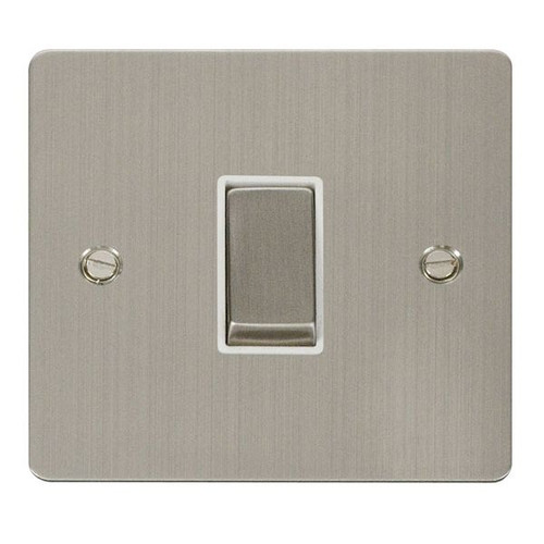 Stainless Steel Flat Plate 10AX 1 Gang Intermediate Switch, White Ins.