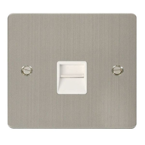 Stainless Steel Flat Plate 1 Gang Single Master Telephone Socket, Wh
