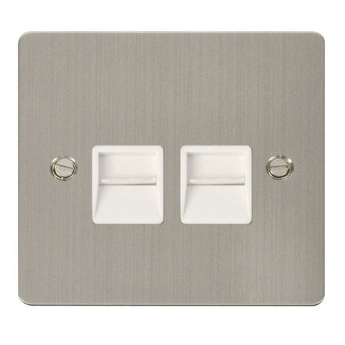 Stainless Steel Flat Plate 2 Gang Twin Master Telephone Socket, Wh