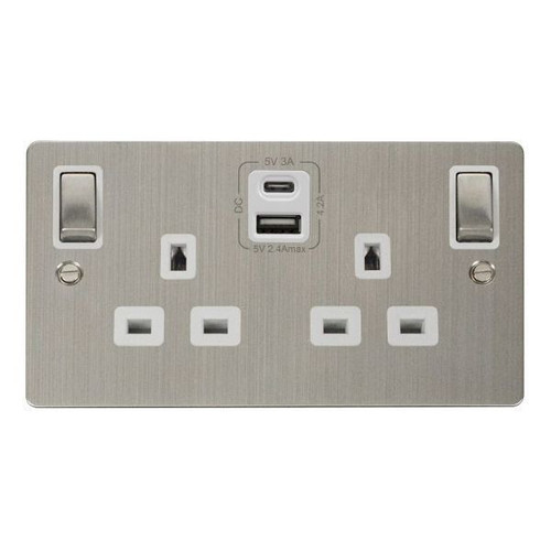 Stainless Steel & White Double 13A Ingot Socket w/ Type A & C USB 4.2A