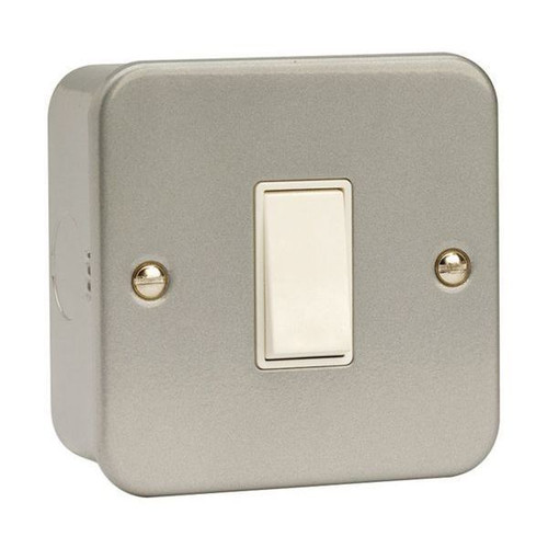 Metal Clad 10AX 1 Gang 2 Way Plate Switch with Back Box