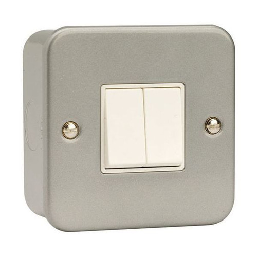 Metal Clad 10AX 2 Gang 2 Way Plate Switch with Back Box & Knockouts