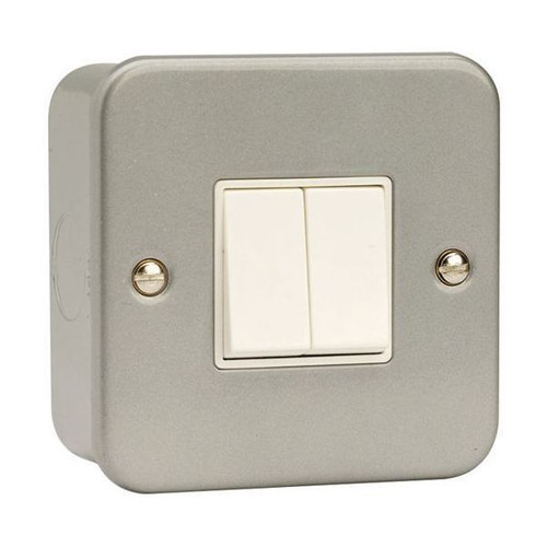 Metal Clad 10AX 2 Gang 2 Way Plate Switch with Back Box