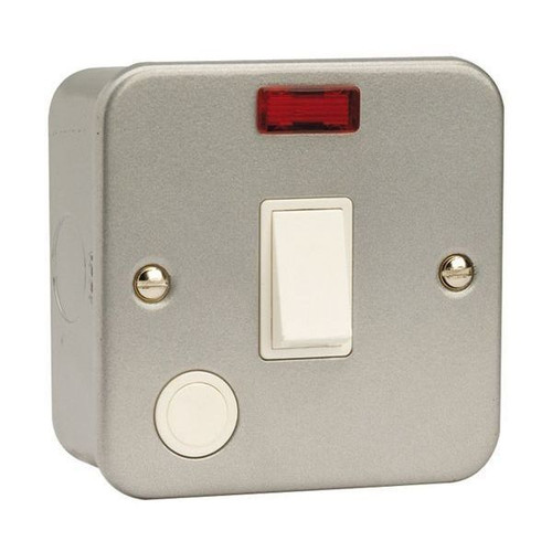 Metal Clad 20A Double Pole Switch with Neon & Optional Flex Outlet