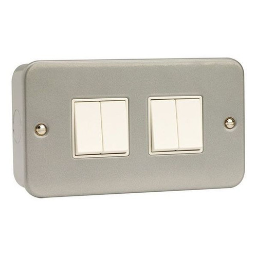 Metal Clad 10AX 4 Gang 2 Way Plate Switch with Back Box & Knockouts