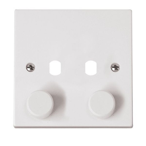 Polar White 2 Gang Dimmer Switch Plate with Knobs