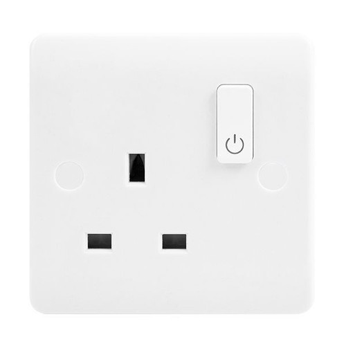 White 1 Gang Zigbee 13A Smart Switched Socket Outlet
