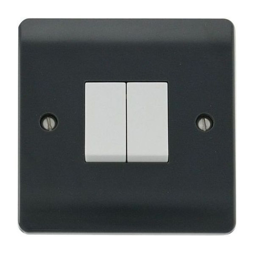 Part M Mode Modular Moulded Plastic 2 Gang 2 Way Plate Switch 10AX