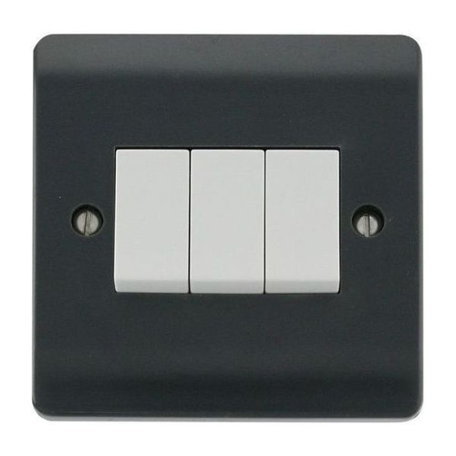Part M Mode Modular Moulded Plastic 3 Gang 2 Way Plate Switch 10AX