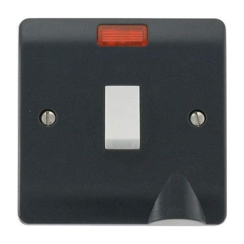 Part M Modular Moulded Plastic DP Switch with Flex Outlet & Neon 20A