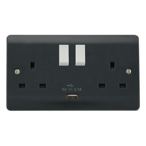 Part M Moulded Plastic 2 Gang Switched Socket 13A with USB Outlet 2.1A
